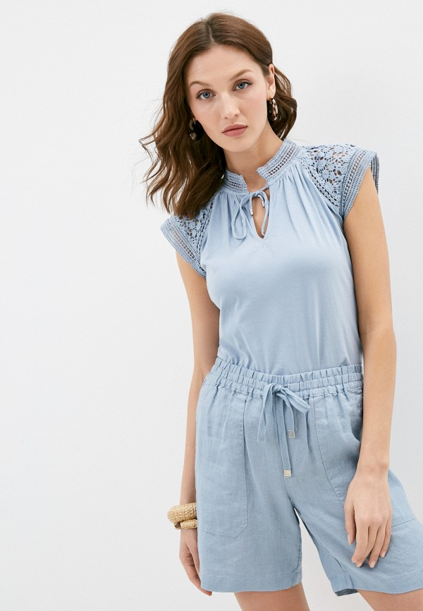 женская блузка lauren ralph lauren, голубая