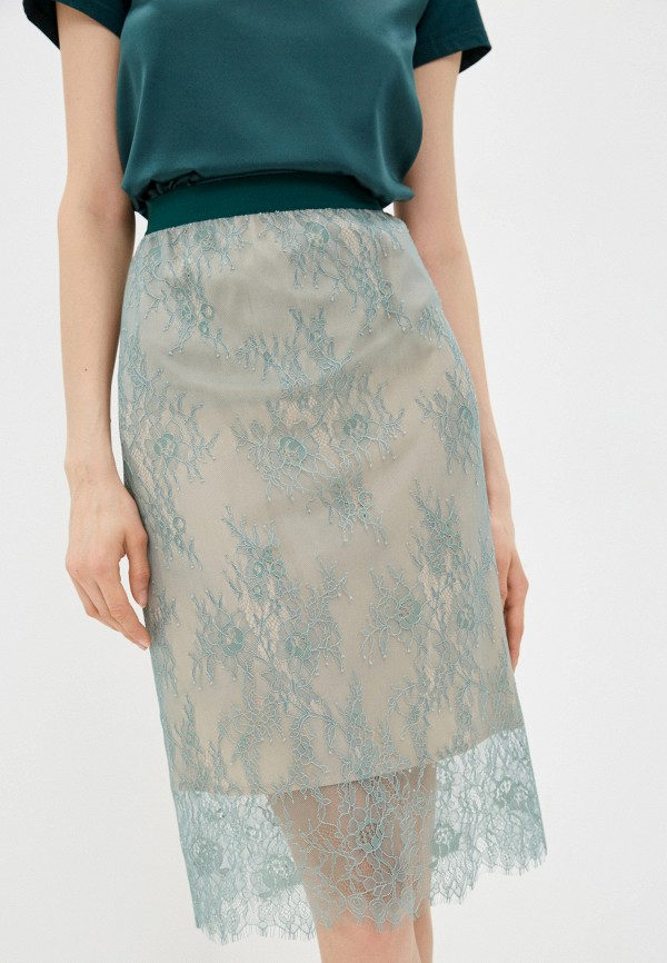 женская прямые юбка twinset milano, бирюзовая