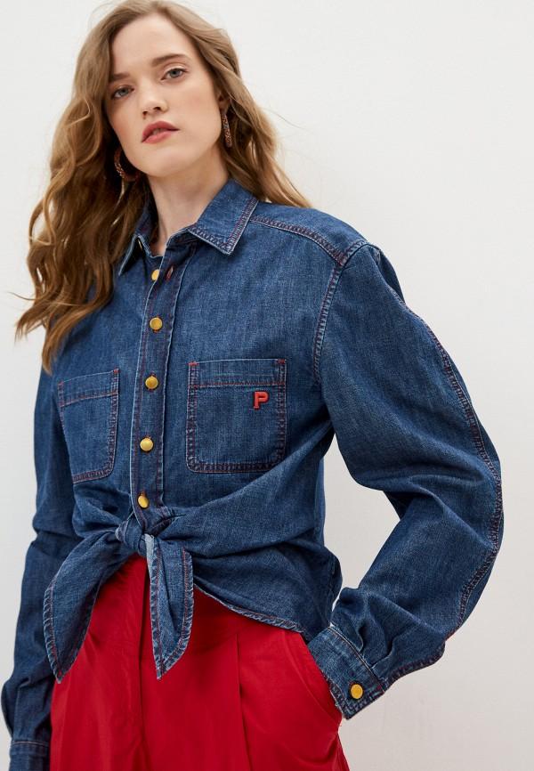 женская джинсовые рубашка philosophy di lorenzo serafini, синяя