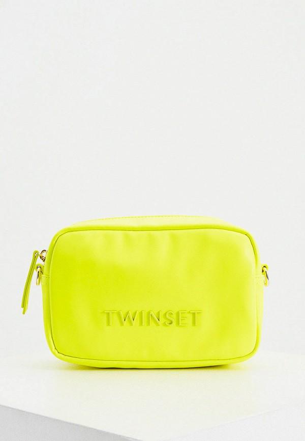 женская сумка через плечо twinset milano, желтая