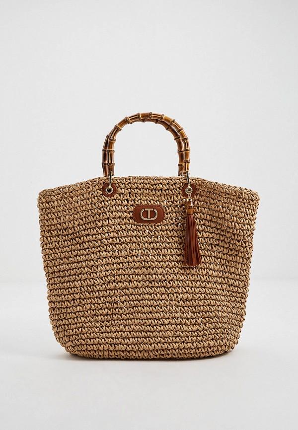 женская пляжные сумка twinset milano, коричневая