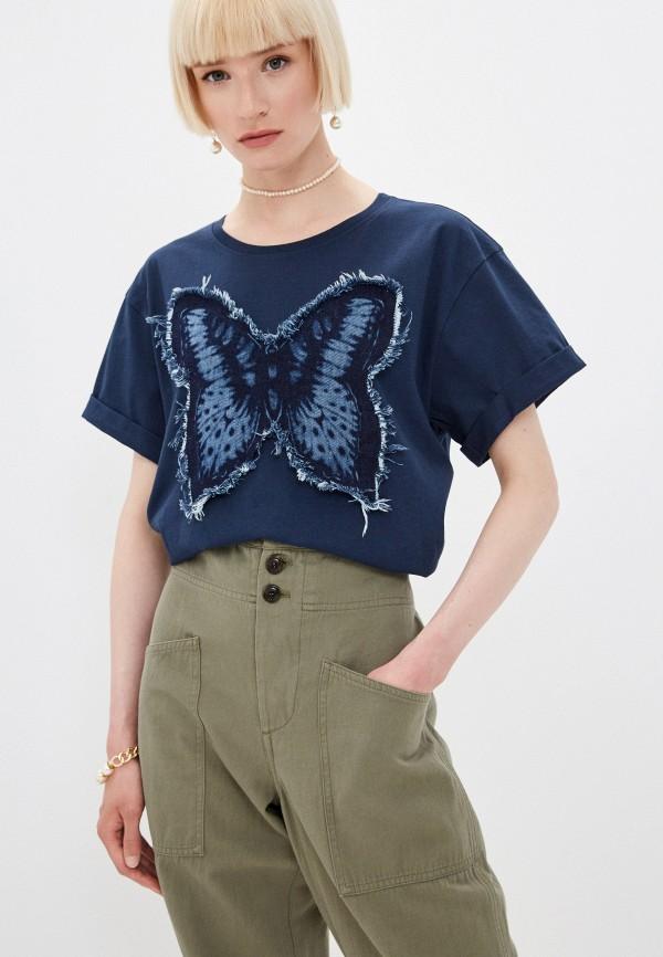 женская футболка twinset milano, синяя