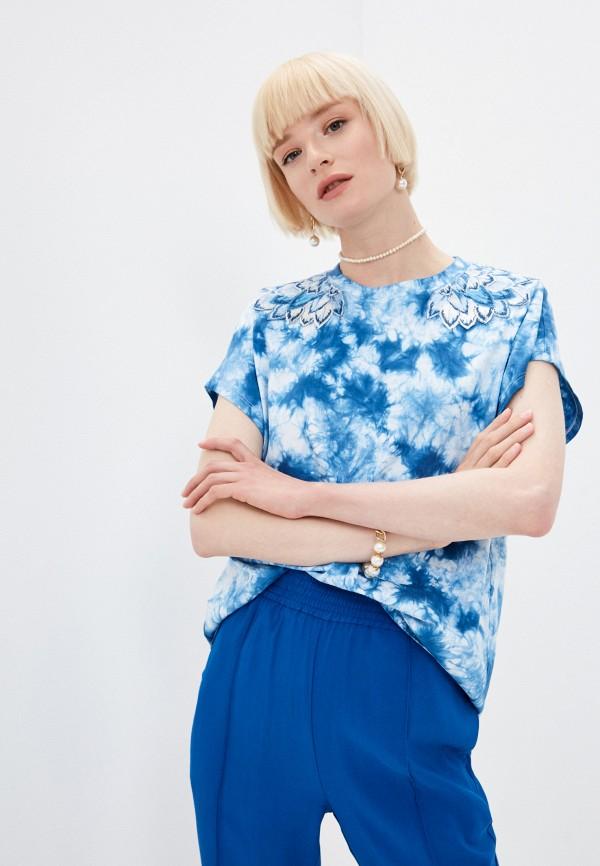 женская футболка twinset milano, голубая
