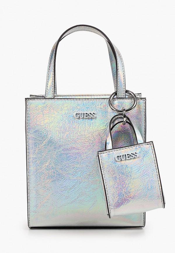 женская сумка с ручками guess, серебряная