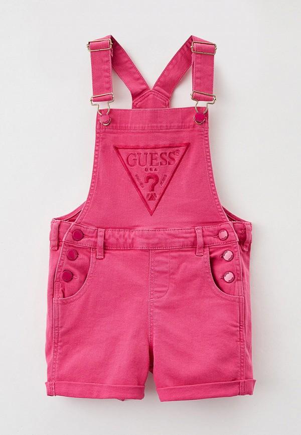 джинсовые комбинезон guess для девочки, розовый