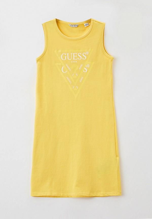 повседневные платье guess для девочки, желтое