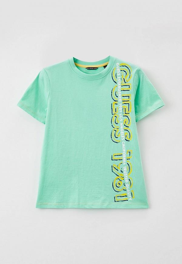 футболка с коротким рукавом guess для мальчика, бирюзовая