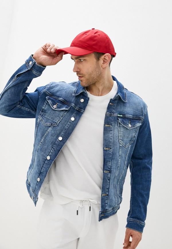 мужская джинсовые куртка guess, синяя
