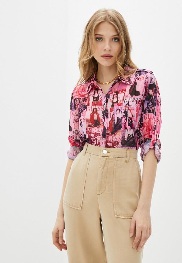 женская блузка guess, розовая