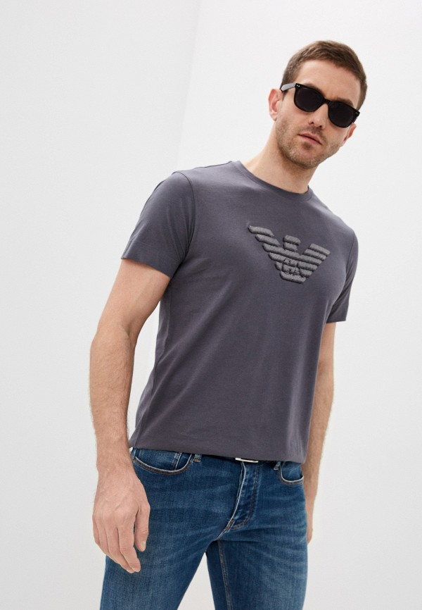 мужская футболка emporio armani, серая