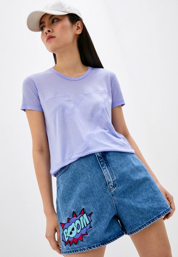 женская футболка emporio armani, фиолетовая