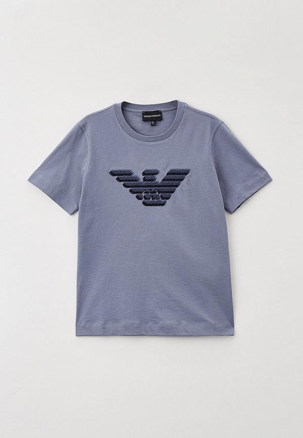 футболка с коротким рукавом emporio armani для мальчика, серая