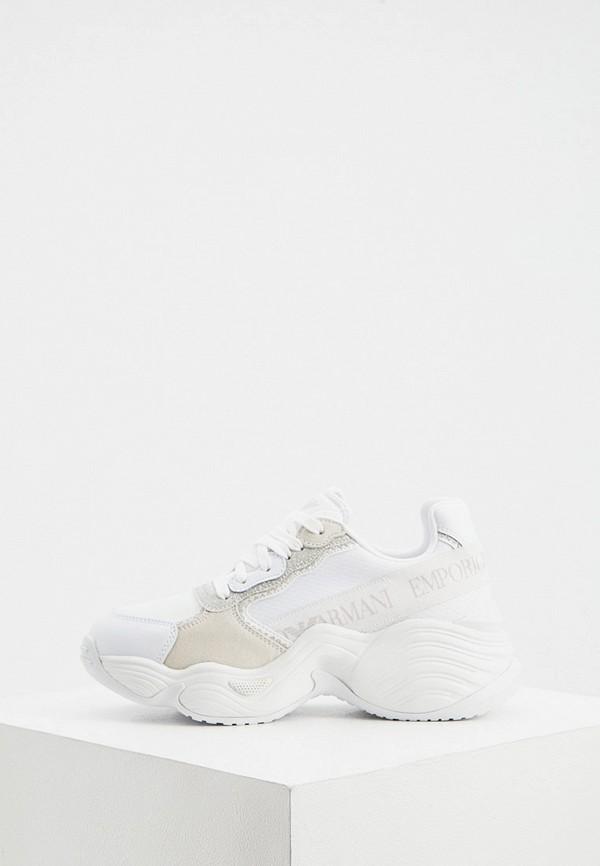 женские низкие кроссовки emporio armani, белые