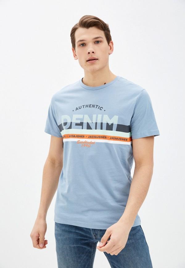 мужская футболка с коротким рукавом jack & jones, голубая