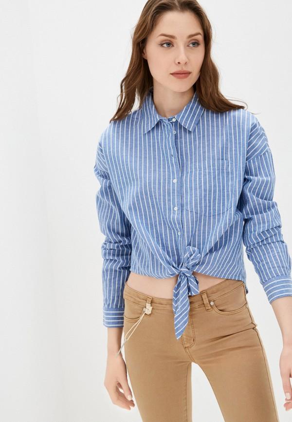 женская рубашка с длинным рукавом only, голубая