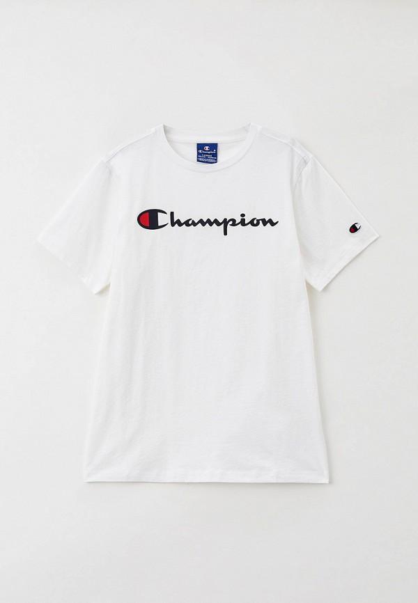 футболка с коротким рукавом champion для мальчика, белая