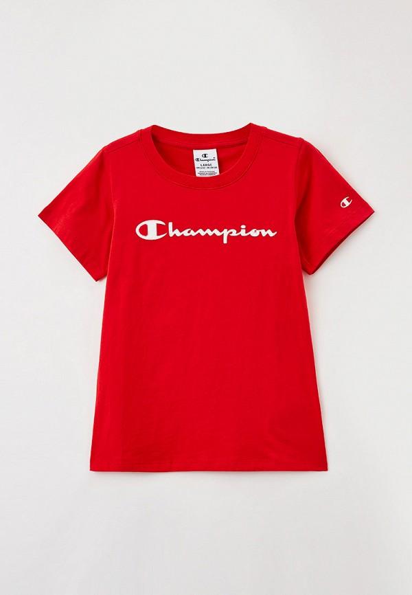 футболка с коротким рукавом champion для девочки, красная