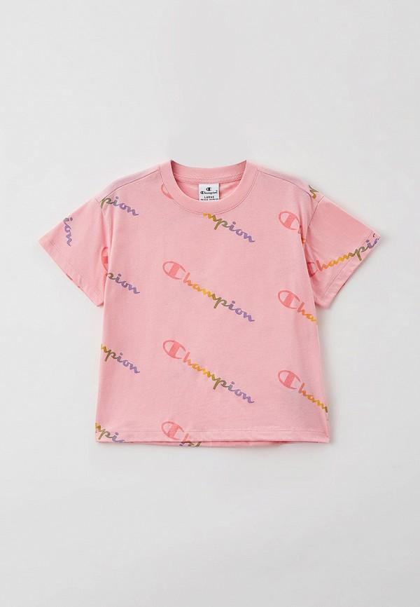 футболка с коротким рукавом champion для девочки, розовая