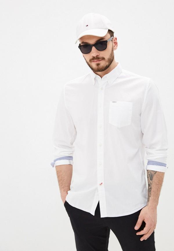 мужская рубашка с длинным рукавом pepe jeans london, белая