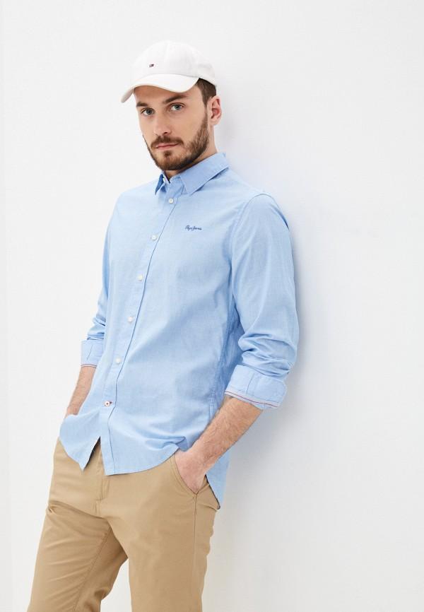 мужская рубашка с длинным рукавом pepe jeans london, голубая