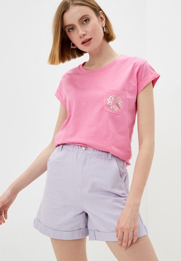 женская футболка rinascimento, розовая