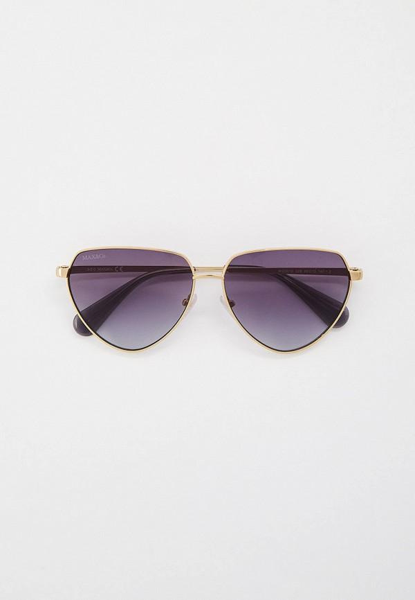 женские круглые солнцезащитные очки max&co, золотые