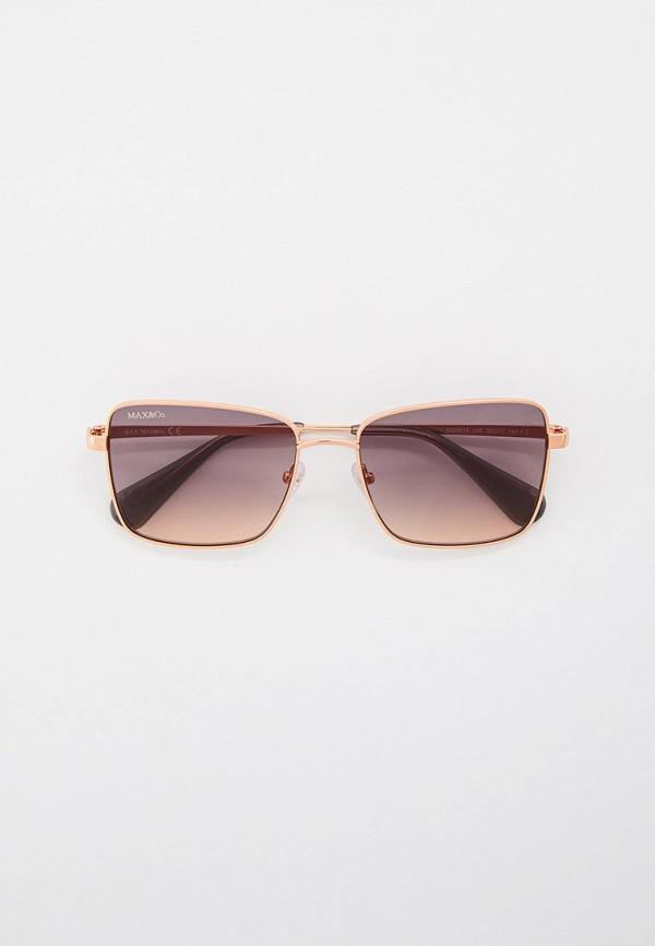 женские квадратные солнцезащитные очки max&co, золотые