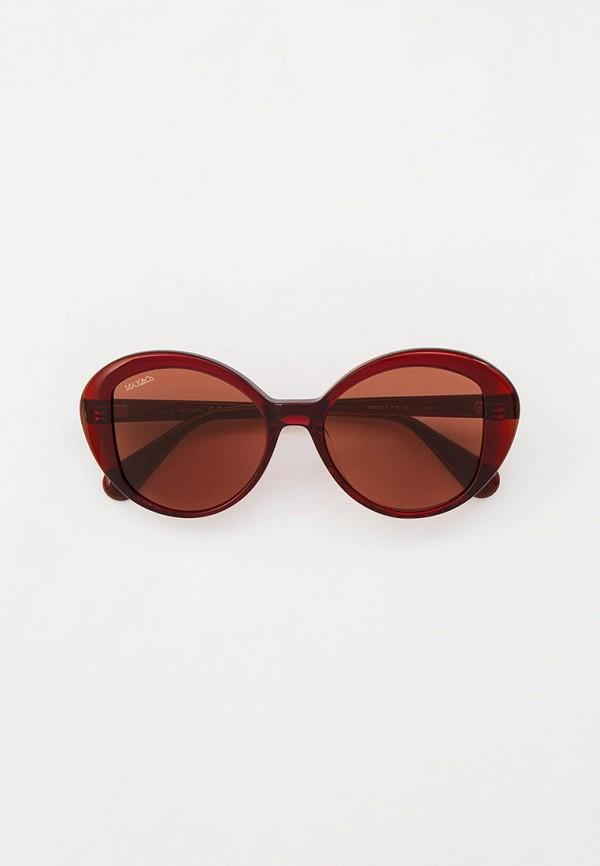 женские круглые солнцезащитные очки max&co, бордовые