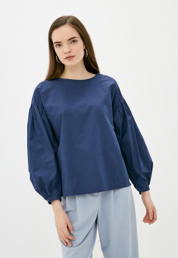 женская блузка с длинным рукавом s.oliver, синяя