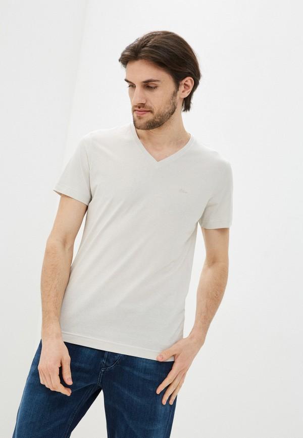 мужская футболка s.oliver, бежевая