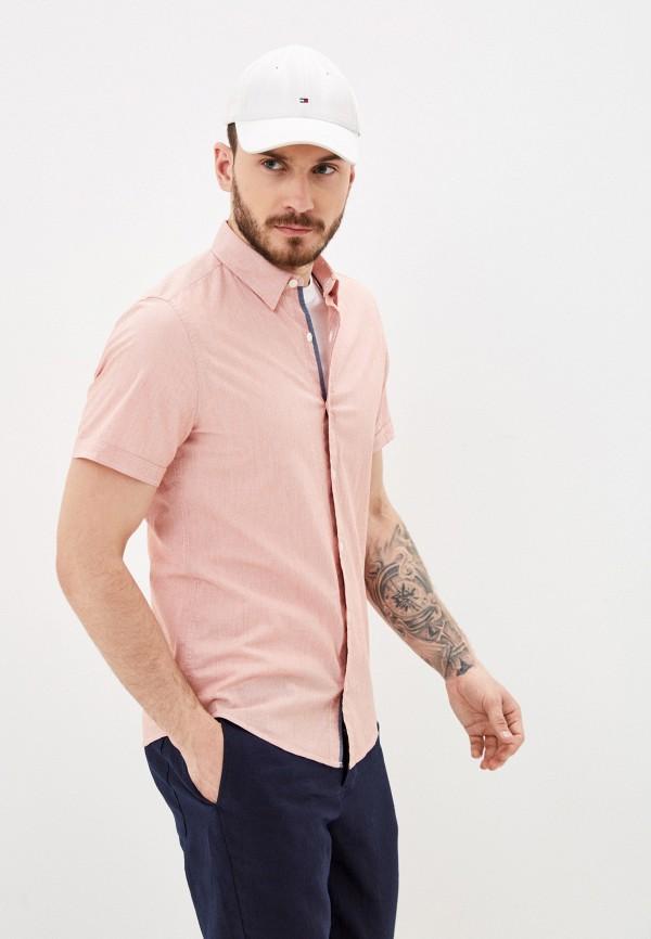 мужская рубашка с коротким рукавом s.oliver, розовая