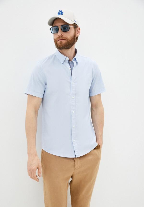 мужская рубашка с коротким рукавом s.oliver, голубая