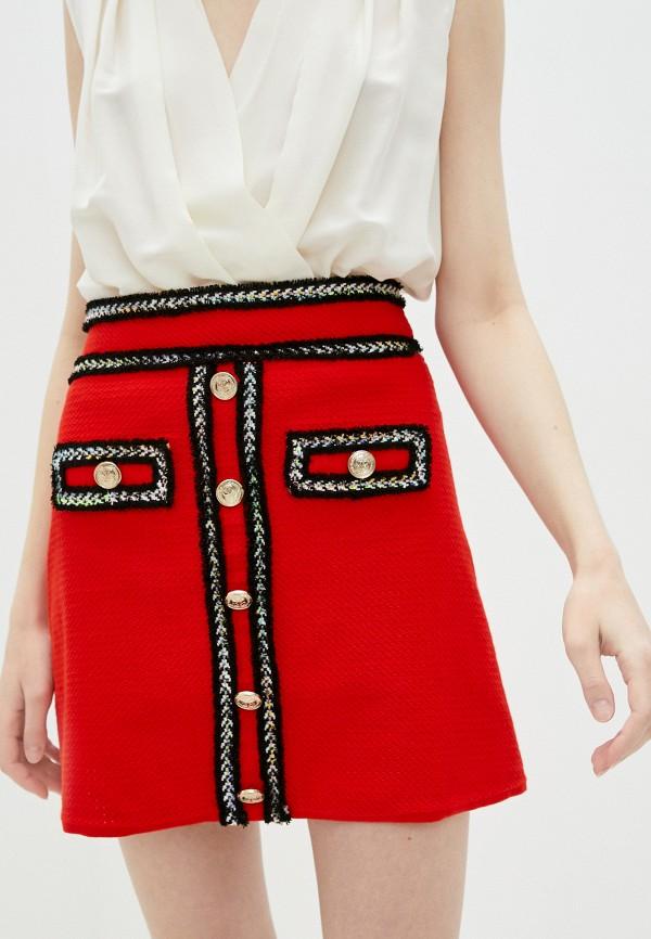 женская юбка pinko, красная