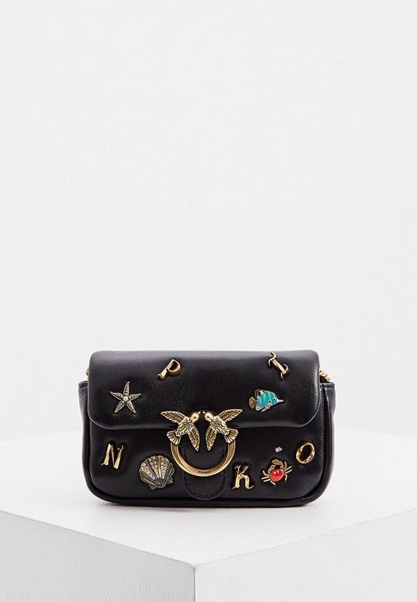 женская сумка через плечо pinko, черная