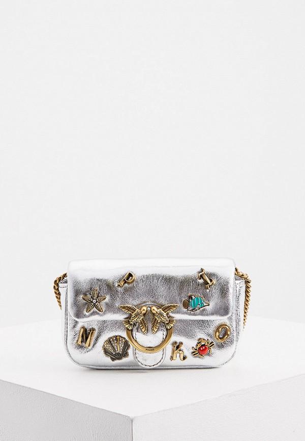 женская сумка через плечо pinko, серебряная