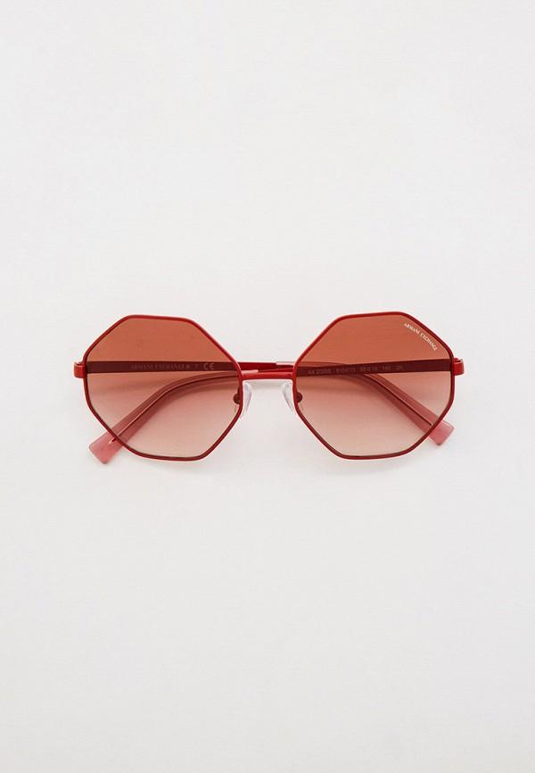 женские круглые солнцезащитные очки armani exchange, красные