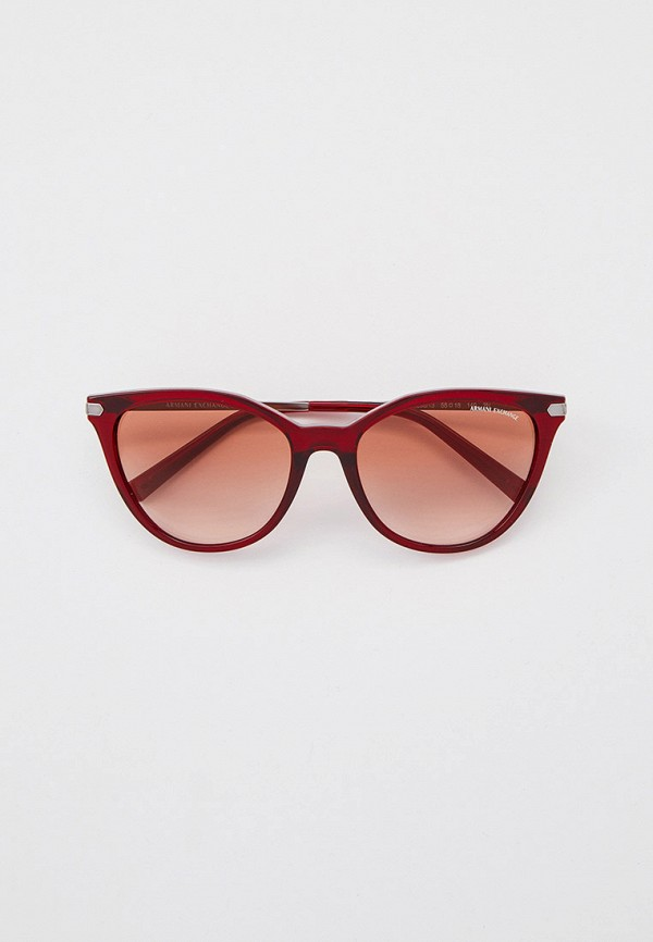женские солнцезащитные очки кошачьи глаза armani exchange, бордовые
