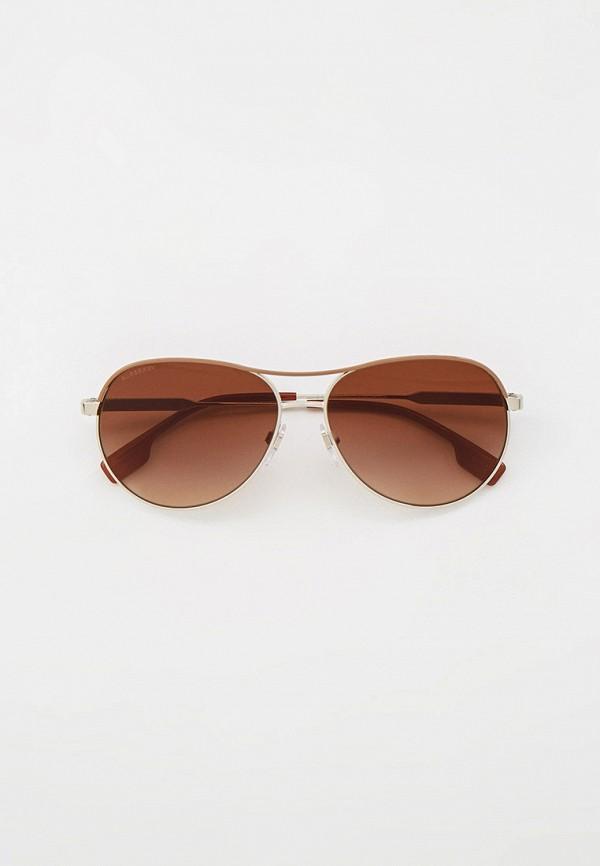 женские авиаторы солнцезащитные очки burberry, золотые