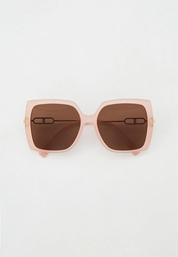 женские квадратные солнцезащитные очки burberry, розовые