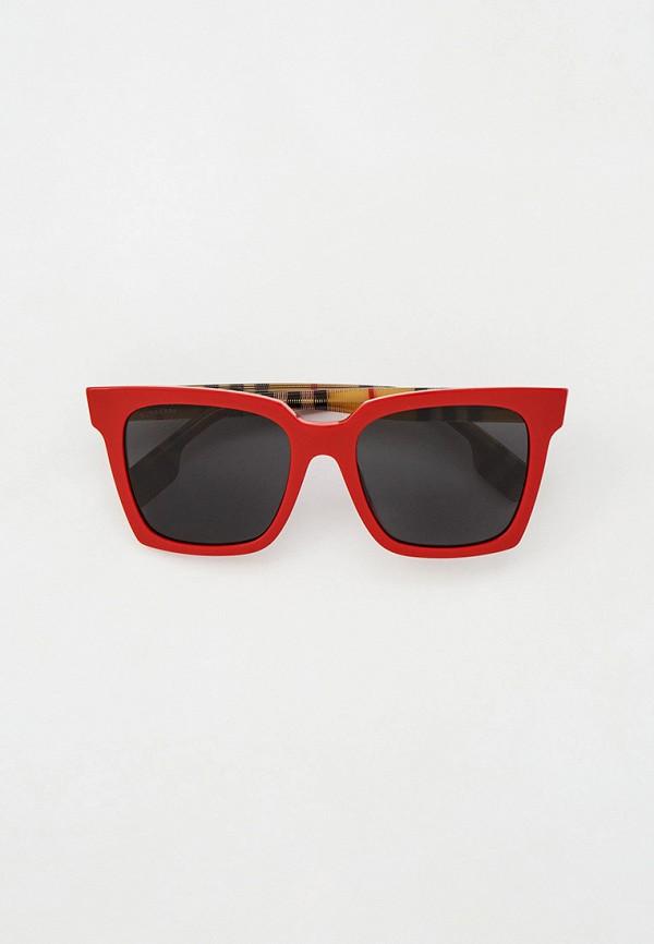 женские квадратные солнцезащитные очки burberry, красные