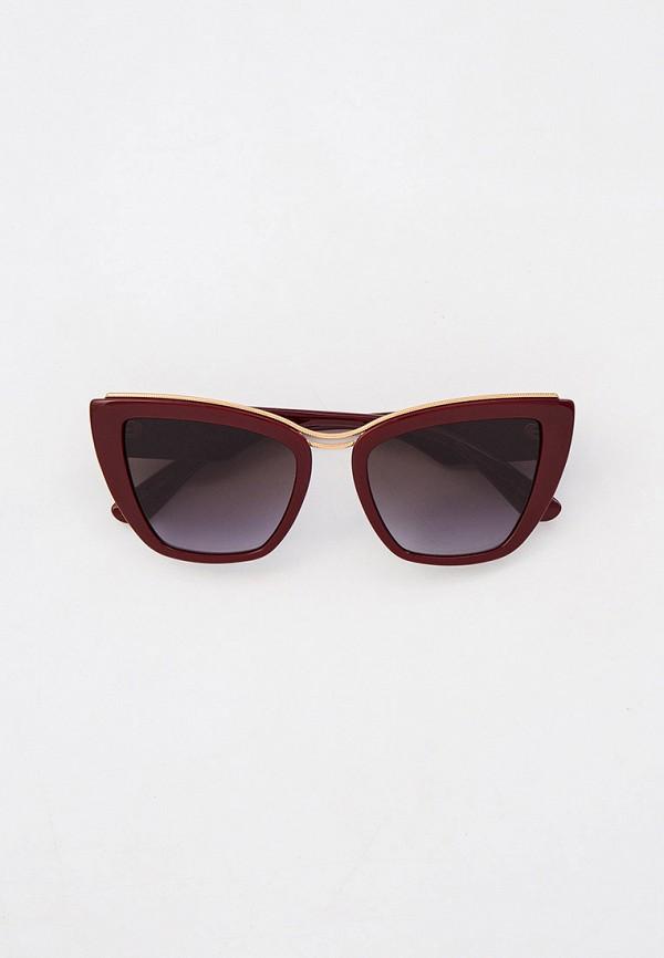 женские солнцезащитные очки кошачьи глаза dolce & gabbana, бордовые