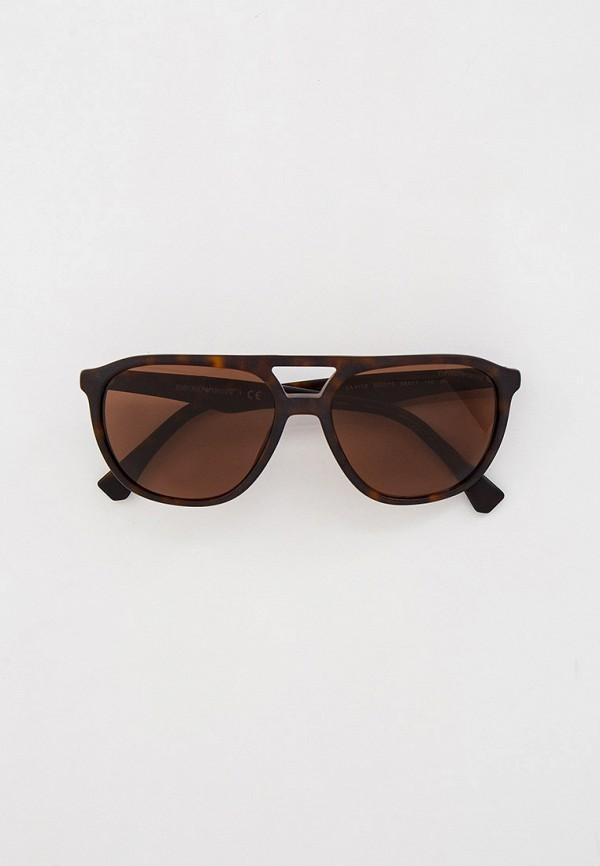 мужские авиаторы солнцезащитные очки emporio armani, коричневые