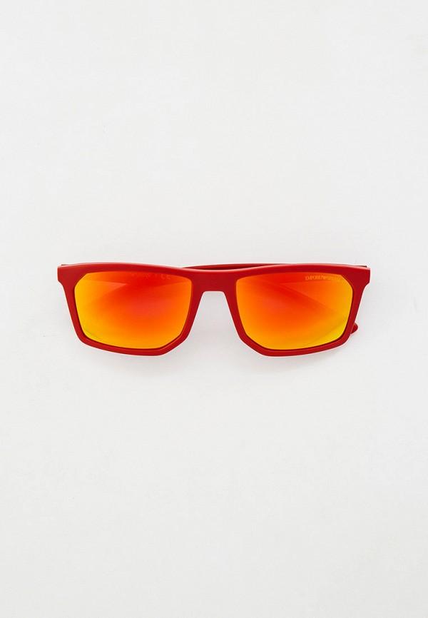 мужские квадратные солнцезащитные очки emporio armani, красные
