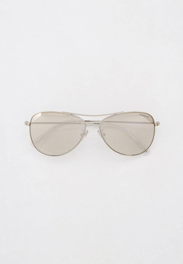 женские авиаторы солнцезащитные очки coach, серебряные