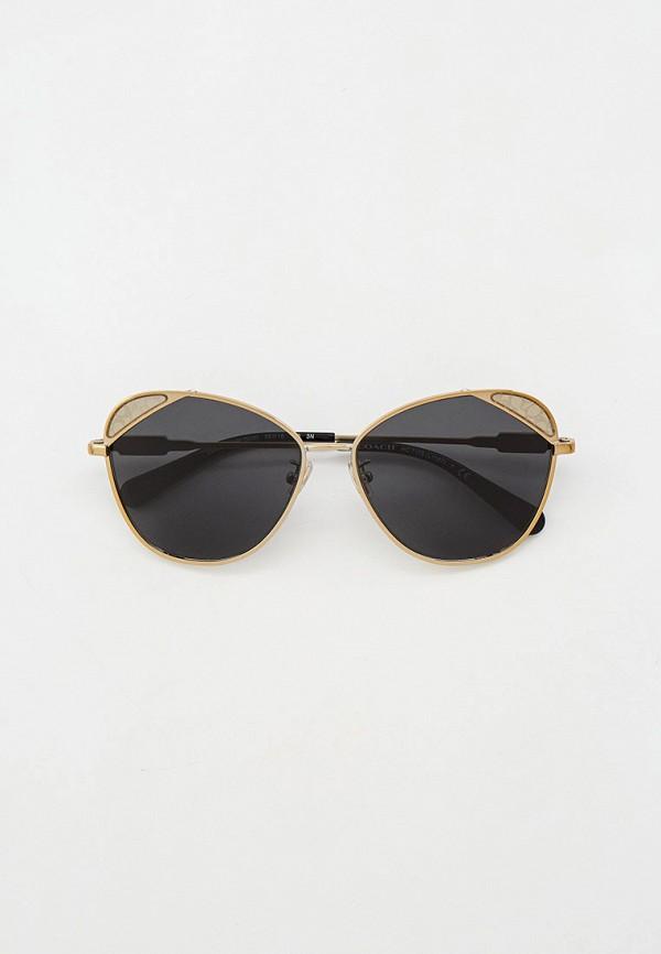 женские круглые солнцезащитные очки coach, золотые