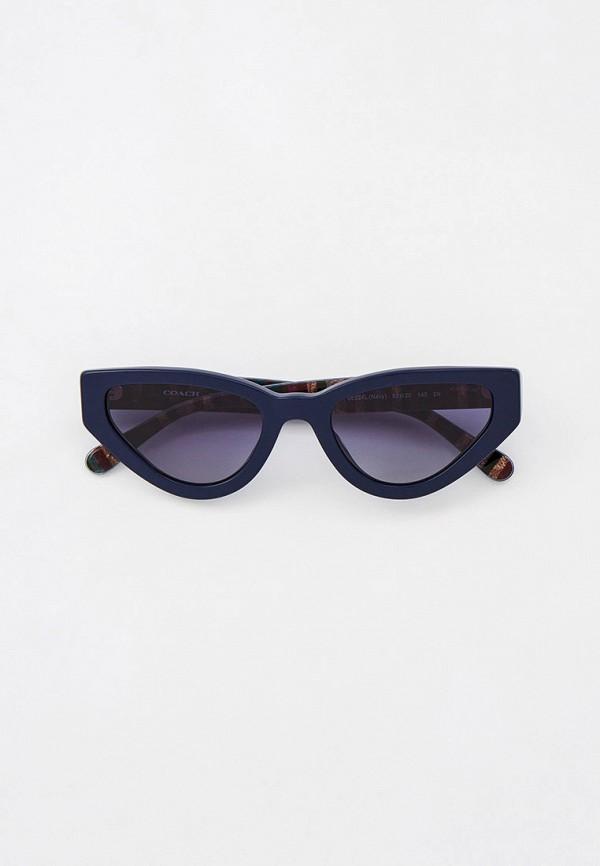 женские солнцезащитные очки кошачьи глаза coach, синие