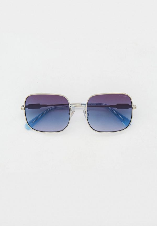 женские квадратные солнцезащитные очки coach, серебряные