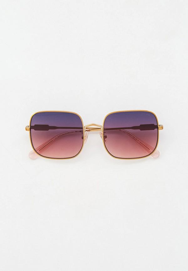 женские квадратные солнцезащитные очки coach, золотые