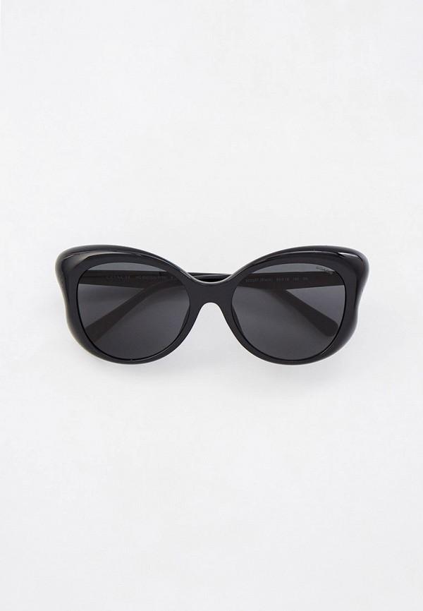 женские солнцезащитные очки кошачьи глаза coach, черные