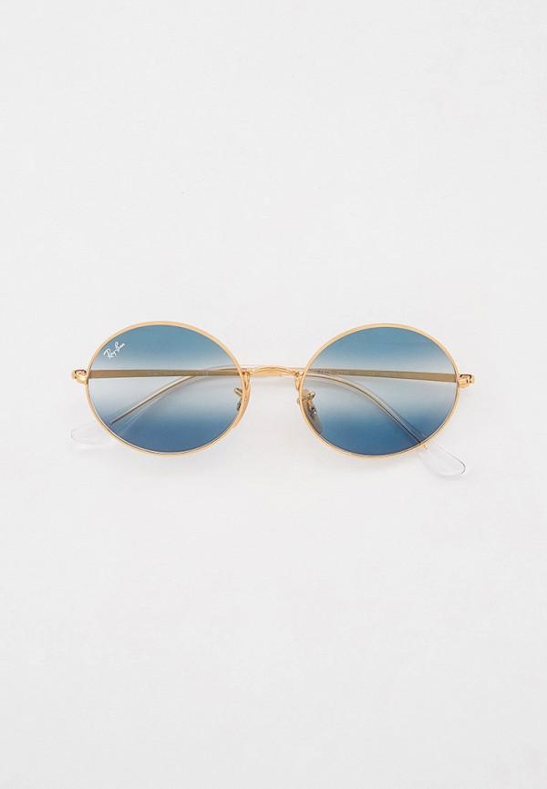 женские круглые солнцезащитные очки ray ban, золотые